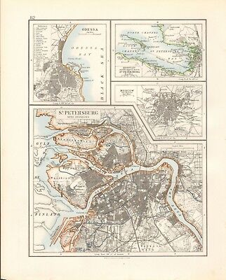 1897 Antique Map- Johnston - Russia - Odessa, St Petersburg, Moscow