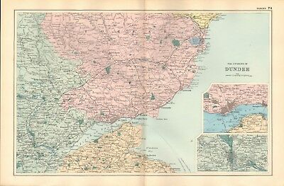 1895 Antique Map -  Environs Of Dundee
