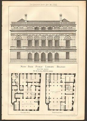 1883 Antique Print- Architecture - Ireland - New Free Public Library, Belfast