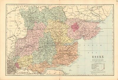 1890 Ca ANTIQUE MAP - ESSEX, MALDON, CHELMSFORD, COLCHESTER, BARKING, ROMFORD