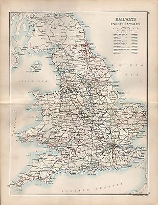 1904 Antique Map Railways Of England And Wales, Principal Railway Systems