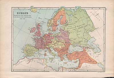 1875 Antique Map - Europe 30 Yrs War To French Revolution, 1648-1789