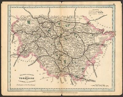 1864 Antique Map- Railway And Stations, Yorkshire, West Riding, South, Leeds,She