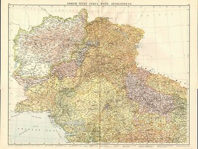 1920 Large Map- North West India With Afghanistan