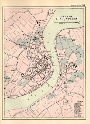 1895 Antique Map - Plan Of Londonderry