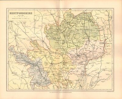 1895 Antique County Map- Hertfordshire, St Albans, Baldock, Watford, Royston
