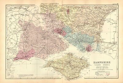 1892 Large Victorian  Map- Hampshire South, Isle Of Wight,Portsmouth,Southampton