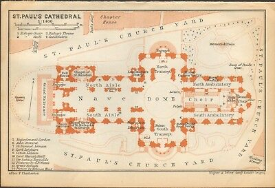 1911 - Antique Map - London - Plan, St Paul's Cathedral
