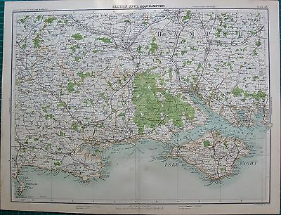 1898 Antique Map- Southampton Region, Isle Of Wight, Purbeck,Portland