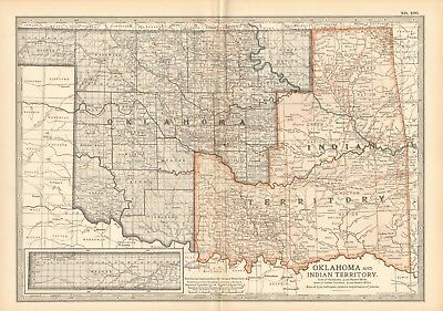 1903 Antique Map- Usa, Oklahoma And Indian Territory