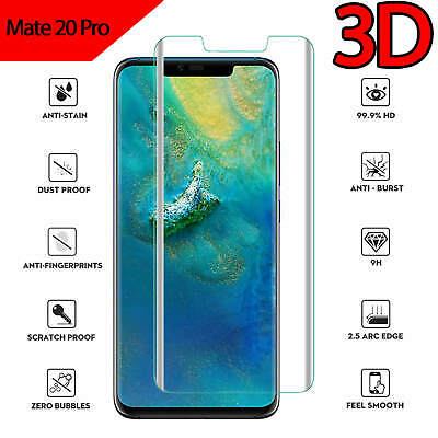 For Huawei Mate 20 Pro Full Coverage 3D Tempered Glass Screen Protector Clear