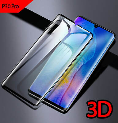 For Huawei P30 Pro Full Coverage 3D Curved Tempered Glass Screen Protector Black