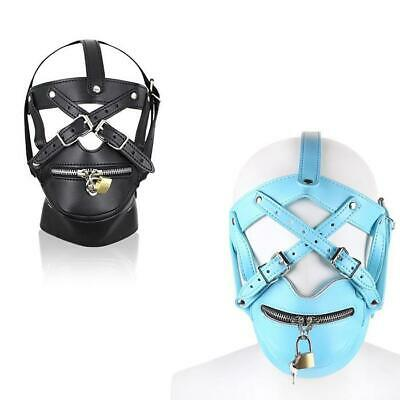 Bondage PU Leather Gimp Head Harness Riding Fancy Hood Mask Lockable Cosplay