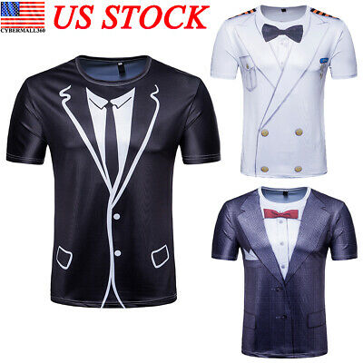 Mens Tuxedo Suit Tie Funny 3D Print Short Sleeve T-Shirt Graphic Tee Casual Top