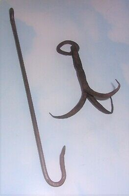 Antique Rustic Hand-Wrought Iron Three Pot Hanging Hook with Central Hook