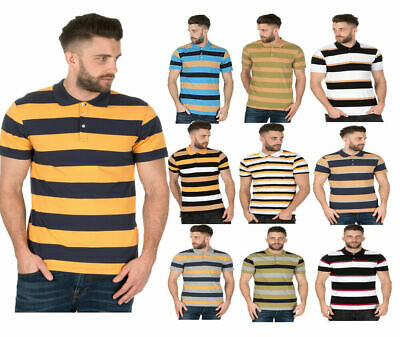 Mens Striped Polo Shirts Collared Rugby T Shirt Summer Tee Short Sleeve S M L XL