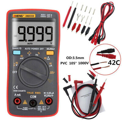 Auto Range Digital Multimeter Ammeter DC AC Voltage Current Meter Tester UK Red
