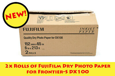 *NEW* 2x Rolls of FujiFilm Dry Photo Paper for Frontier-S DX100 Printer