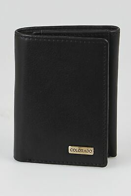 New Colorado Leather RFID Camry Trifold Wallet Mens Trifold Black by-Strandbags