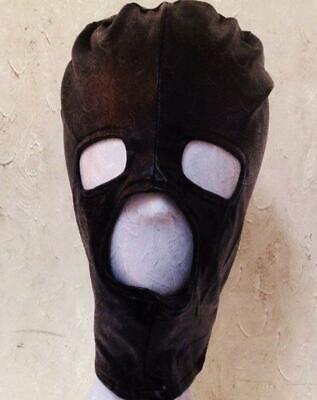 Latex & Spandex Black Hood Mask Eyes Mouth Nose Open Cosplay Costume party UA83