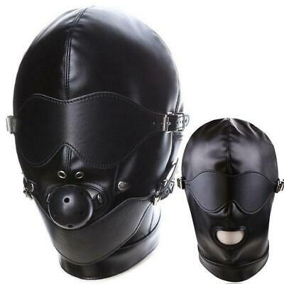 Quality masque Sexy Wet Look Blindfold Mask Gag Gimp Hood Harness déguisement