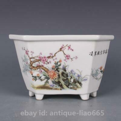 "7.9"" Collect Chinese Famille-rose Porcelain Flowers and Plants Hexagon Flowerpot"
