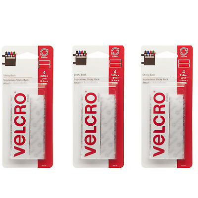 VELCRO Brand-Sticky Back Hook and Loop Fasteners 12 SETS White 3-1/2''x3/4''