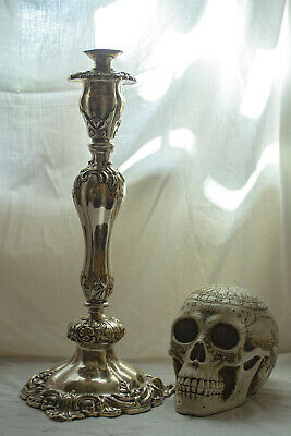 Ornate Rococo Gothic Antique Silver Plated Candlestick Very Tall and Heavy!
