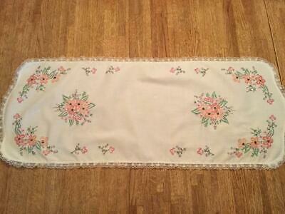 "Hand Embroidered Dresser Scarf Table Runner Floral 12-1/2"" x 33"""
