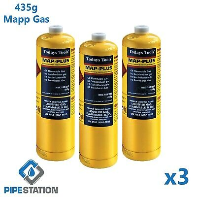 3x Yellow MAPP / MAP+ Pro Gas Cylinder 453g Disposable Bottle NEXT DAY DELIVERY