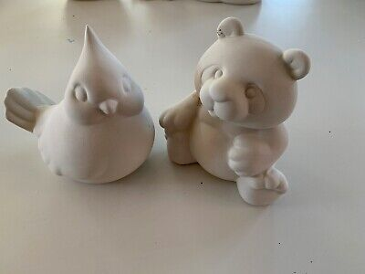 Unpainted Ceramic Bisque - Bear & Bird Ornament Pottery Painting