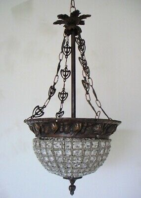Beautiful French Antique Beaded Pendant Hanging Chandelier