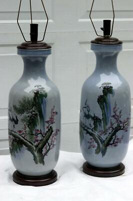 Pair Chinese Republic Era Sky Blue Vases  Cranes Waterfall Prunis Trees Lamps