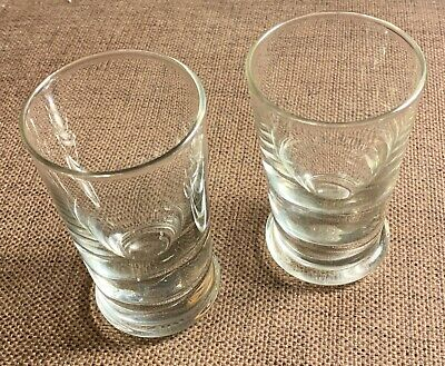 2 X Hand Blown Clear Glass Tumblers / Beakers - Heavy Base , Bubble Inclusions