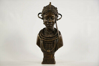 Intriguing Benin Bronze Female Bust 13"