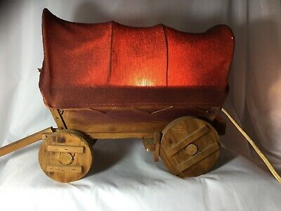 "Vintage Western Red Covered Wagon Lamp Night Light Wood Wooden Rustic, 21"" Long"