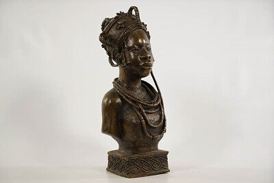 Lovely Benin Bronze Female Bust 13"