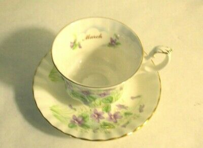 Royal Albert March Flower Of The Month Violet Bone China Cup & Saucer Never Used
