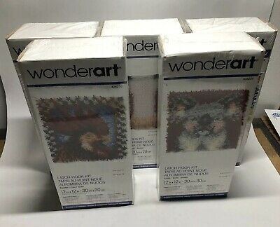 Lot of 5 Brand New Sealed WonderArt Latch Hook Kits - Chicken Koala Shaggy Star