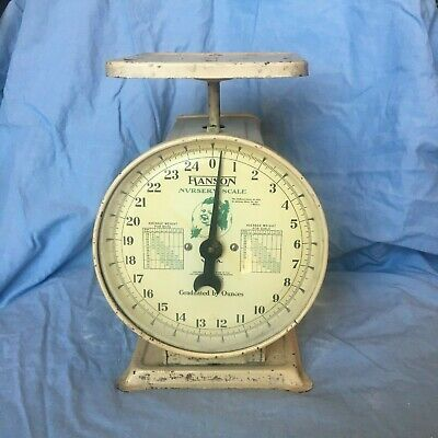 Antique Vintage 1940s 1950s Hanson Baby Nursery Scale 25 lbs Metal