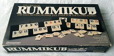 VINTAGE RUMMIKUB RUMMY O Tile Game Faux Leather Carrying Case Set