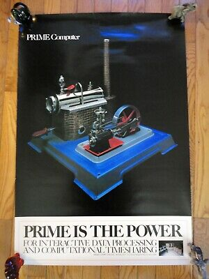 """VINTAGE 1980's PRIME COMPUTER PROMO """"PRIME IS THE POWER"""" POSTER - (22"""" x 32"""")"""