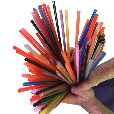 BULK 1000 - Plastic Craft Straw - 200mm Long - Mixed Colours - Craft Supplies