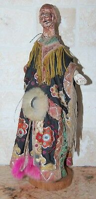 Vintage Hand Made & Painted Asian Hand Puppet Ornate Costume Scary Face & Stand