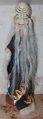 Vintage Hand Made Asian Hand Puppet with Robe Costume Old Wise Man Face & Stand