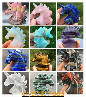 Wholesale~Natural Quartz Unicorn Carved Crystal skull Gemstone Unicorn healing
