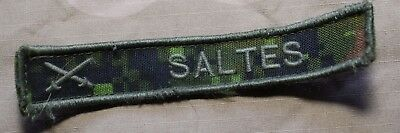 "Used Canadian Army Temperate Cadpat Camo Name Tag  ""Saltes"""
