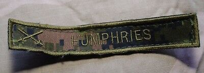 "Used Canadian Army Temperate Cadpat Camo Name Tag  ""Humphries"""