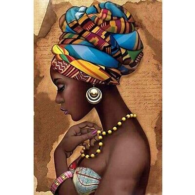 """Full Round 5D Diy Diamond Painting """"African Woman"""" Embroidery Cross Stitch M8A6"""