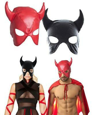 2 Color Kunstleder Maske Faux Soft Leather Hood Cat woman Horn Kostüm Bondage